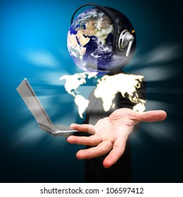 Business man and world of communication for a head hold the world map : Elements of this image furnished by NASA