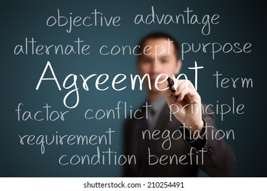 business man writing agreement concept
