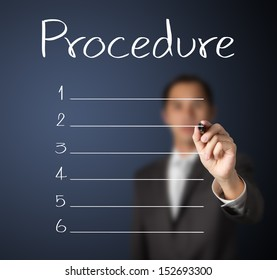 business man writing blank procedure list