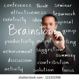 business man writing brainstorm concept