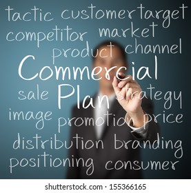 business man writing commercial plan concept