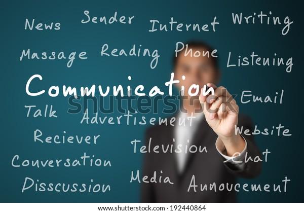 business man writing communication concept