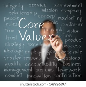 business man writing concept of core values