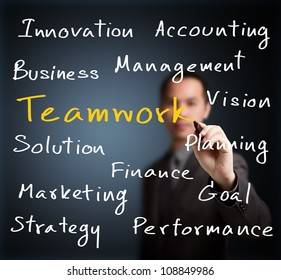 business man writing business concept with teamwork highlighted