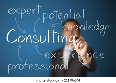 business man writing consulting concept