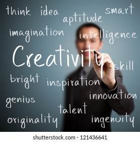 business man writing creativity concept