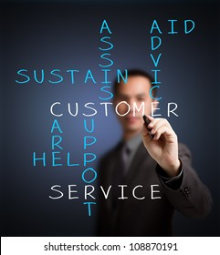 business man writing customer service concept by crossword of assist - aid - advice - care - help - sustain - support