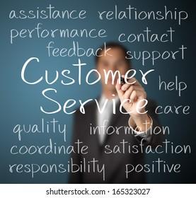 business man writing customer service concept