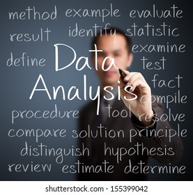 business man writing data analysis concept
