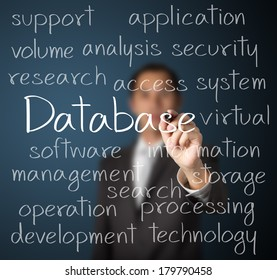 business man writing database concept