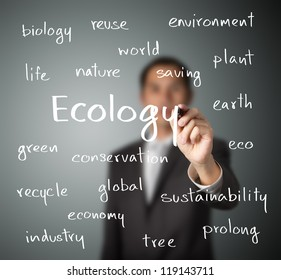 business man writing ecology concept