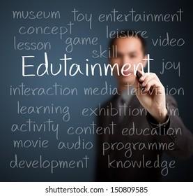 business man writing edutainment concept