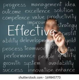 business man writing effective concept