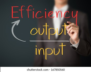 business man writing efficiency concept