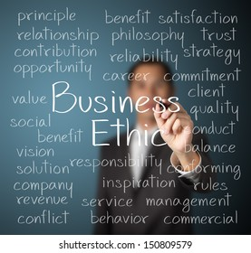 business man writing business ethic concept