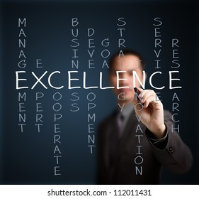 business man writing excellence concept by crossword of relate word such as management, expert, development, strategy, research etc.