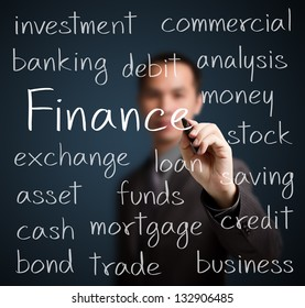 business man writing finance concept