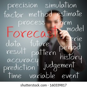business man writing forecast concept