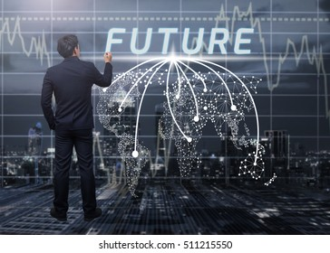 business man writing future and cityscape background,business concept and world map connection concept
