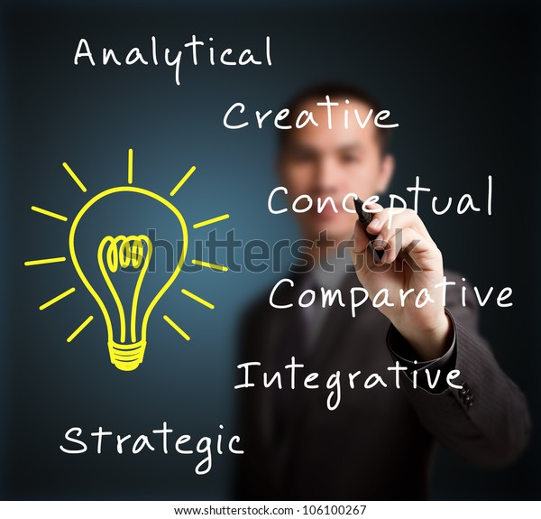 business man writing human thinking concept