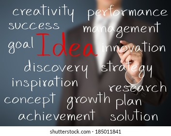 business man writing idea concept