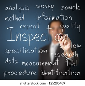business man writing inspection concept