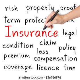 business man writing insurance concept