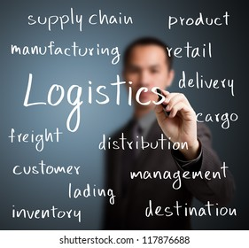 business man writing logistics concept