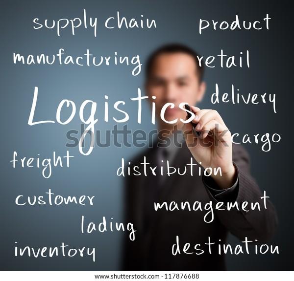 business man writing logistics concept
