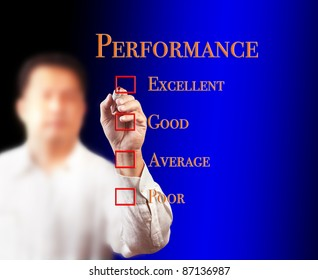 business man writing on performance audit checklist
