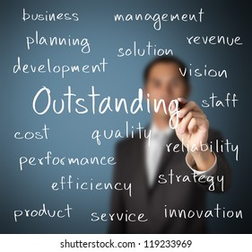 business man writing outstanding concept