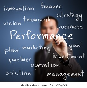 business man writing performance concept