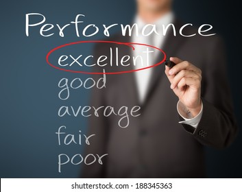business man writing performance evaluation : excellent