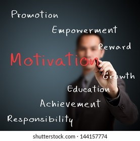 business man writing person or employee motivation concept