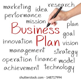 business man writing business plan concept
