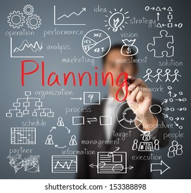 business man writing planning concept