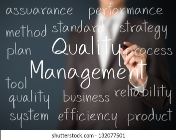 business man writing quality management concept