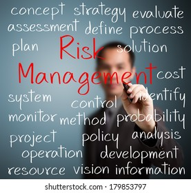 business man writing risk management concept