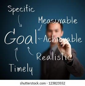 business man writing smart goal setting