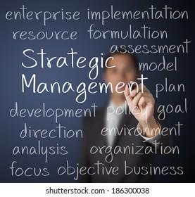 business man writing strategic management concept
