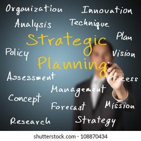 business man writing strategic planning concept