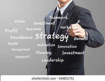 business man writing Strategy