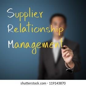 business man writing supplier relationship management ( srm ) concept