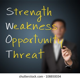 business man writing swot analysis concept ( strength - weakness - opportunity - threat )