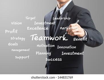 business man writing Teamwork