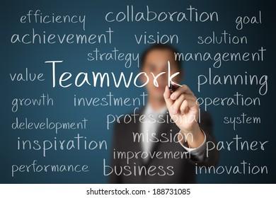 business man writing teamwork concept