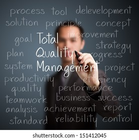 business man writing total quality management (TQM) concept