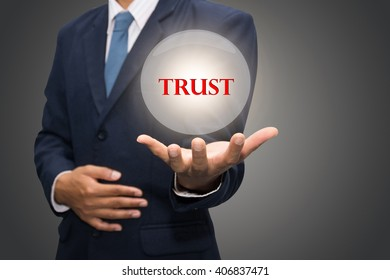 business man writing trust building concept