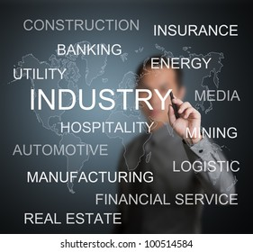 business man writing various kind of industry in the world