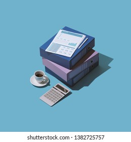 Business management, accounting and finance: financial reports, paperwork and calculator, isometric objects